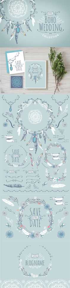 Boho Chic Wedding & Blog Collection by Lisa Glanz | The Comprehensive, Creative Vectors Bundle Mar 2015