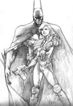 Batman and Judge Anderson Commission, in Jeffrey Dodd's Buzz Comic Art Gallery Room Batman Gotham Knight, Batman Art, Batman And Superman, 2000ad, Comic Art Community, Arte Dc Comics, Judge Dredd, Fictional World, Dark Knight