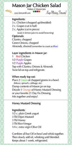 | Mason Jar Chicken Salad | Honey Mustard Dressing | 21 Day Fix | Team Keep Moving Forward | tamcam10 | Recipes | Easy |