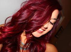 vibrant red hair.. used lo'real hicolor highlights in magenta