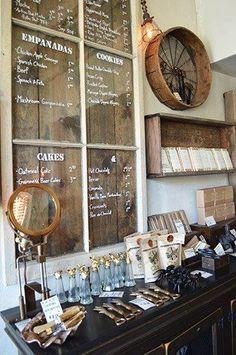 Menu board Great sinage idea - dark stained planks behind vintage window Hollow Cafe Design Café, Cafe Design, Store Design, Café Bar, Bar Menu, Deco Restaurant, Restaurant Design, Muebles Home, Deco Cafe
