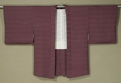 Japanese Haori  Early 1960s.    Woman's silk jacket with striped weave and small brocaded diamond details