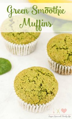 Green Smoothie Muffins are delicious for breakfast or as a snack. The vegetable and fruit muffins use the same main ingredients as a green smoothie drink: spinach, banana and Greek yogurt. These green muffins would also be great as a St. Patrick's Day breakfast. - Green Smoothie Muffins Recipe on Sugar, Spice and Family Life