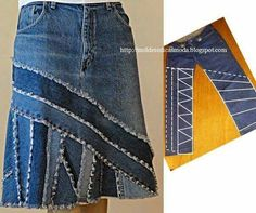 Cut up old jeans to make a new skirt!