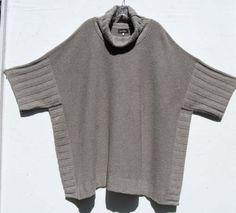 NEW-Eskandar-CLOUD-Cashmere-Garter-Stitch-Cowl-Neck-Poncho-Sweater-0-2495