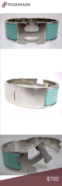 Hermes click clach palladium bracelet Hard to find in stunning Atoll blue (Tiffany blue) color. A wow piece of jewelry sure to please. 😘💯😊 authentic and brand new!!! Hermes Jewelry Bracelets