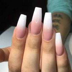 Image result for pink and white ombre nails