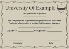 13 best Masters degree certificate template images on Pinterest in 2018