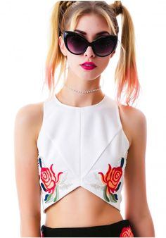 English Rose Rose Dynasty Sequined Crop Tank