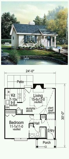 House Plan 86955 Total living area 576 sq ft 1 bedroom 1 bathroom This perfect country retreat features a vaulted welcoming entry and an impressive living room with sky. Living Haus, Tiny House Living, Small House Plans, House Floor Plans, 1 Bedroom House Plans, Small House Layout, Colonial Cottage, Little Houses, Tiny Houses