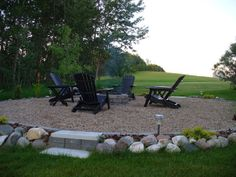 "I like the idea of having the fire pit on a pea gravel ""pad"", lower maintenance than trying to mow around the pit and we'd be able to leave chairs and side tables out instead of dragging them back and fourth."