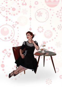 Petticoatkleider - Elegantes 50s Jersey Winterkleid Hahnentritt s/w - ein Designerstück von myrockabillymode bei DaWanda
