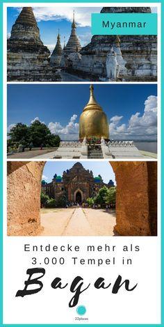 Der perfekte Bagan-Guide! Bagan ist das Highlight überhaupt in Myanmar. Mehr als 3.000 Tempel befinden sich dort und man kann tagelang auf Entdeckungsreise gehen.