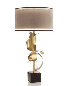"Limited Production Design & Stock: 39"" Tall Statuesque Brass Ribbon Table Lamp * Shimmer Twin Shade"