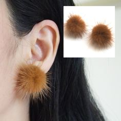 Genuine Brown Mink Fur Invisible Clip on Earrings, Fur Ball Clip on Stud…