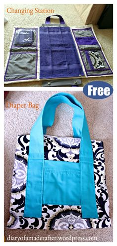 This Baby Changing Station and Diaper Bag is really an amazing project! It can be used as diaper changing station and also be a diaper bag. Diaper Bag Patterns, Bag Patterns To Sew, Sewing Patterns Free, Free Sewing, Sewing Tutorials, Sewing Blogs, Sewing Tips, Diaper Changing Station, Baby Changing Bags