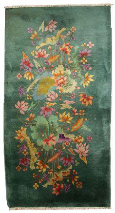 Hand made antique Art Deco Chinese rug 2.7' x 5.11' ( 82cm x 182cm ) 1920