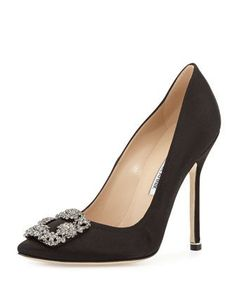Hangisi+Crystal-Buckle+Satin+115mm+Pump,++Black+by+Manolo+Blahnik+at+Neiman+Marcus.