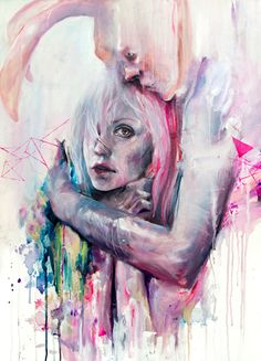 Colourful acrylic and watercolour portraits by Agnes Cecile.