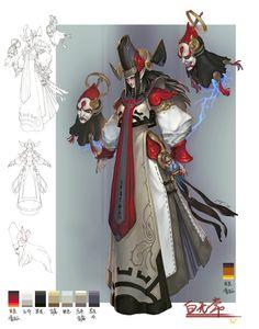 CGwall游戏原画网站_原鼻子作品,设计稿黑白无常,具有中国风特色