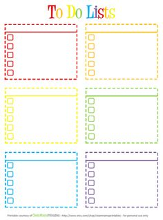 To do lists, colors #printables