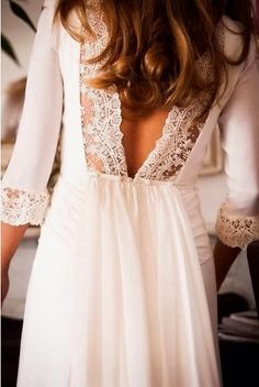 Lovely lace trimmed back half white tulle dress