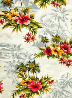 Hoffman Tropical Collection Hibiscus & Palm Tree Silver, another lovely print!