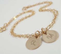 love it!!    Personalized Bracelet - Gold Filled Initial Discs - Hand Stamped - Gold Initial Bracelet -  $27.00, via Etsy.