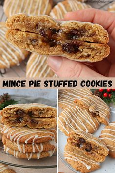 Recipe for Mince Pie Stuffed Cookies - spiced brown sugar cookies stuffed with fruity mincemeat and drizzled with icing, perfect Christmas treats! #thebakingexplorer #mincepie #stuffedcookies #christmasbaking #cookies