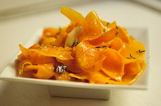 Butternut Squash Salad: Roasted until barely cooked through and simply dressed with oil, thyme and vinegar.