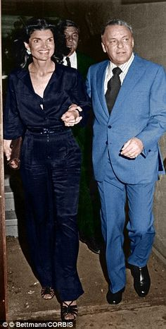 Just good friends? Frank Sinatra and former First Lady Jackie Onassis together in 1975...