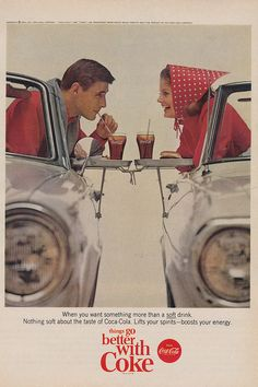 vintage coca cola ad, cute set up for engagement pics?