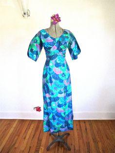 S-M, 50s Pake Muu Blues Greens Tiki Island Girl Maxi Dress By Paradise Sports Honolulu Hawaii Tikki