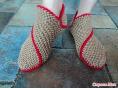 Knitted slippers tutorial - I translated it into crochet and it was easy and fun.