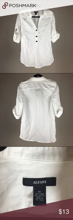 Alfani Linen/Cotton White Top This top is made with 50% linen and 50% cotton. This top is soft and comfortable and perfect for summer. The only thing is the there is a bit of thread that is slightly burnt from ironing, which is barely noticeable, but I took a pic of it in the last picture. Alfani Tops