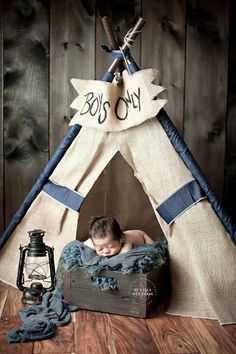 Boys Only burlap teepee photo prop for newborns Photography by Sulima Studios  https://www.etsy.com/listing/128166304/luke-burlap-teepee-tent-photo-prop?ref=shop_home_active_17
