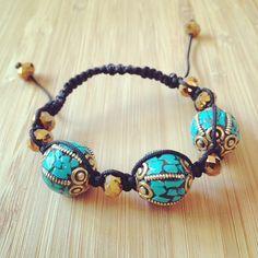 Nepalese turquoise beaded shambala bracelet by lucitemaddness, $48.00