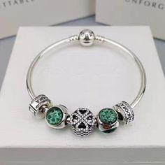 pandora green charm bracelet 5 pcs charms