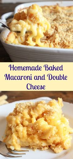 Homemade Baked Macaroni and Double Cheese, a delicious macaroni and cheese baked casserole recipe, the best easy cheesy macaroni family dish. Love this easy dinner recipe! Easy Creamy Mac And Cheese Recipe, Best Homemade Mac And Cheese Recipe, Mac Cheese Recipes, Mac N Cheese Bake, Easy Mac And Cheese, Baked Cheese, Cheddar Cheese, Pasta Dishes, Food Dishes