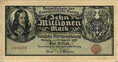 10 million Mark 1923 Danzig HEVELIUS VF ✓ Coins and Coin Collecting ✓ MA-Shops warranty with certified dealers ✓ Coins, medals and banknotes from ancient to modern. Gdansk Poland, Danzig, Big Money, Central Europe, Coin Collecting, Vintage World Maps, Notes, Things To Sell, Ebay