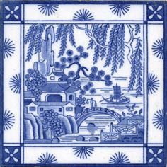 """Minton China Works: """"chinoiserie"""" was very popular in the Victorian age. This is an exquisite example in tile."""