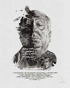 Movie Director Portrait Print, Alfred Hitchcock