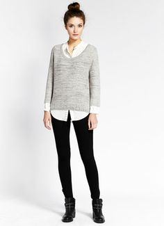Mint Velvet grey waffle knit sweater - House of Fraser Studded Ankle Boots, Jodhpur, Black Pants, Knitwear, Casual Outfits, Glamour, Leggings, Pullover, Sweaters