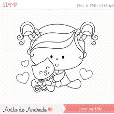 50% OFF Love my kitty Stamp  personal and commercial use