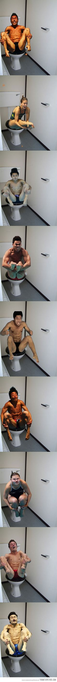 Olympic divers on the toilet… Seriously about peed my pants laughing so hard at these!