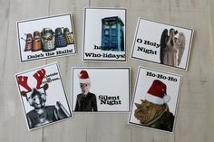 6 Full Color Doctor Who themed Christmas/Holiday Cards!  With envelopes, $10!  :)