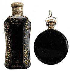 Two Black Hyalith Glass Perfume Count Buquoy Glass ??