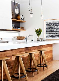 Modern kitchen with wood \ Kitchen Interior Design \ Home Decor New Kitchen, Kitchen Dining, Timber Kitchen, Kitchen White, Earthy Kitchen, Kitchen Ideas, Kitchen Bars, Space Kitchen, Kitchen Modern