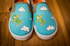 Toddler's Airplane Hand Painted Shoes by ArtzySolez on Etsy, $25.00