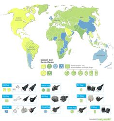 World Map for Power Plug Types